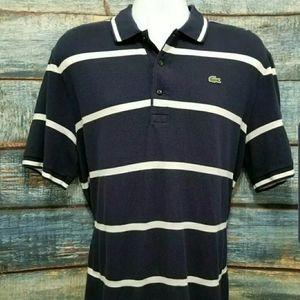 Lacoste Polo Shirt Size 6 (Medium) Striped Navy